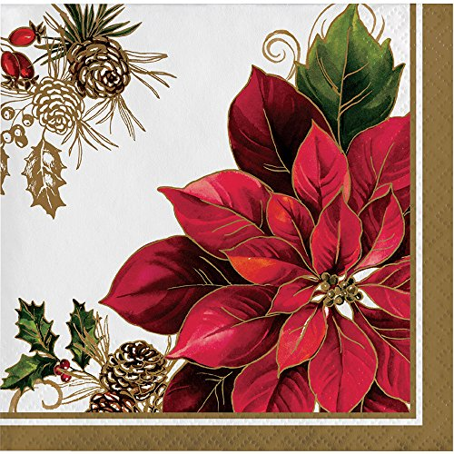 Poinsettia Napkin - Creative Converting 16-Count Beverage Paper Napkins, Golden Greenery