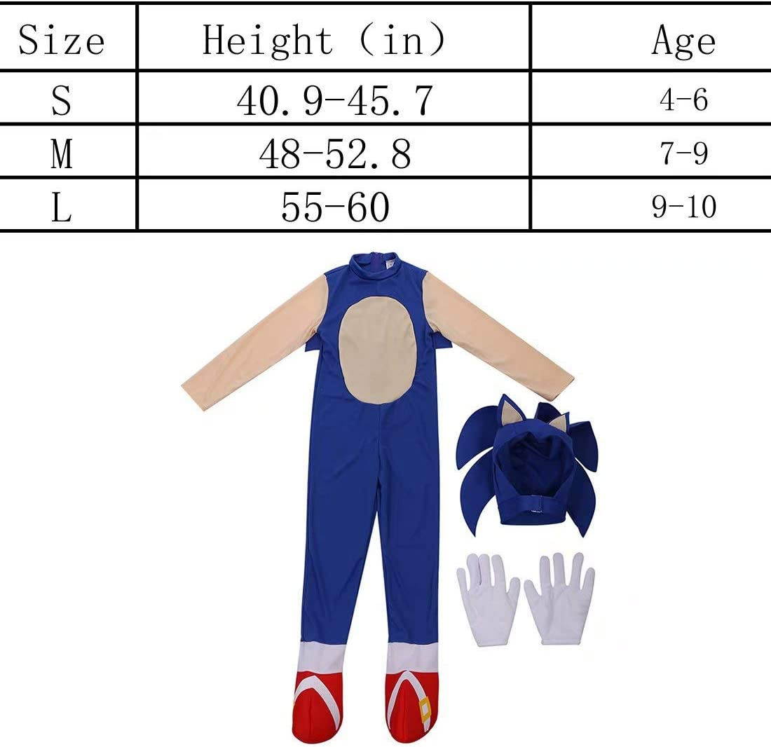 Boys Girls Sonic The Hedgehog Jumpsuit Romper with Headpiece Gloves Overall Cosplay Bodysuit Outfits Costume Props