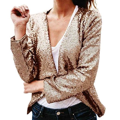 Wintialy Womens Plus Size Shimmer Glam Glitter Sequined Tops Cover Up Blouse (Khaki, XL)