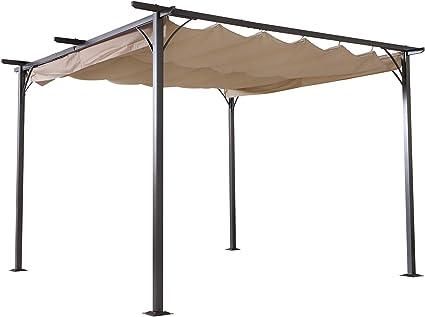 Outsunny - Pérgola de Aluminio retráctil, Estructura de Aluminio y Tela de poliéster de Alta Densidad, 180 g/m2, Color Beige