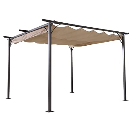f218f8541c61 Outsunny 11.5' Retractable Canopy Cover Steel Frame Classic Pergola Gazebo