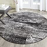 Safavieh Adirondack Collection ADR112A Silver and Black Modern Abstract Round Area Rug (4' Diameter)