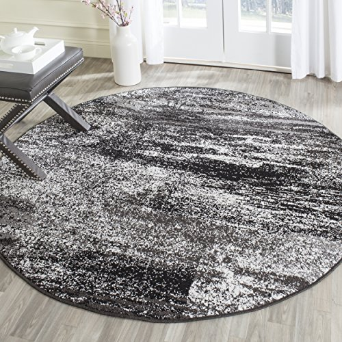 Safavieh Adirondack Collection ADR112A Silver and Black Modern Abstract Round Area Rug (8' - Round Pattern