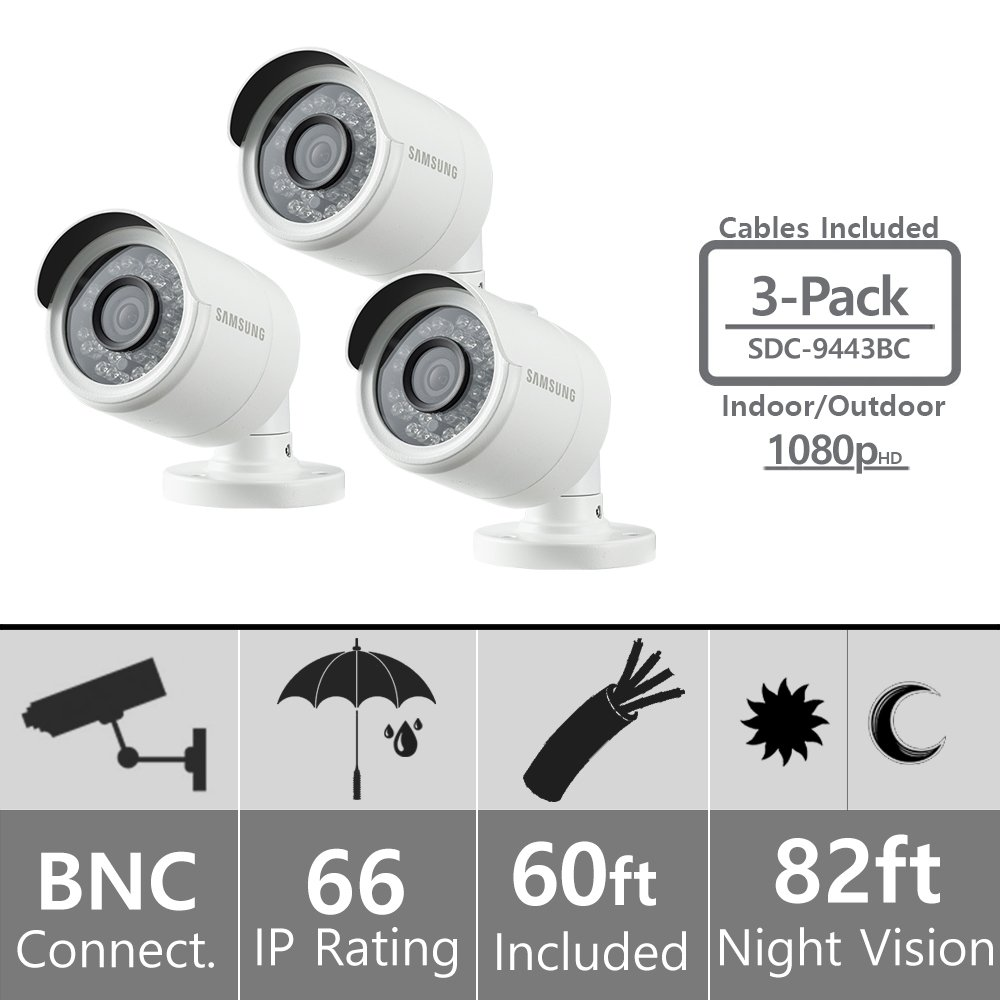 Set of 3 Samsung SDC-9443BC 1080p HD Weatherproof Bullet Camera Compatible with SDH-B74041 SDH-B74081