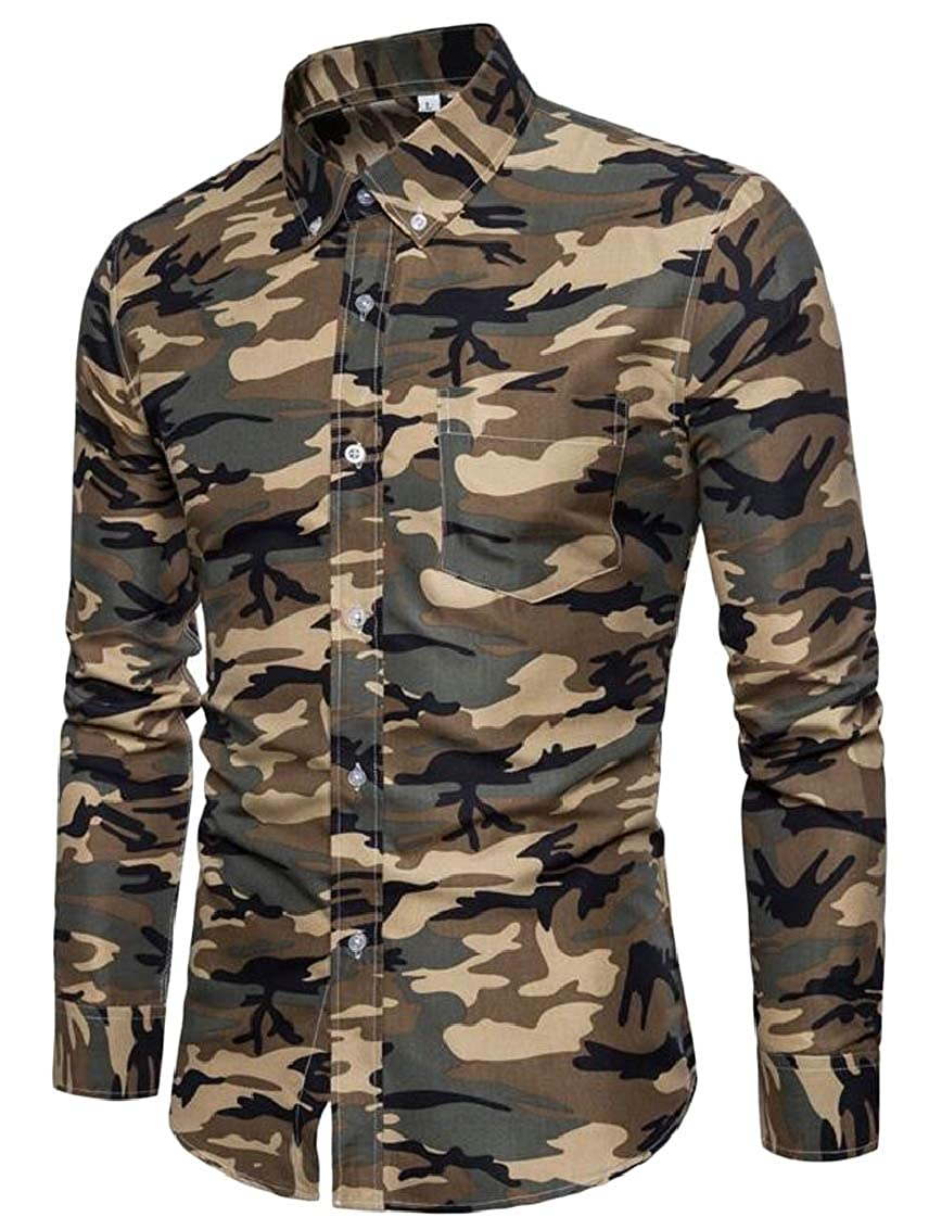 Mens Camouflage Shirts Long Sleeve Slim Button up Down Collar Shirt