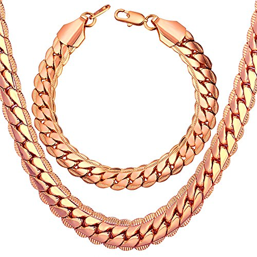 9mm Snake Chain - U7 Heavy Punk Chain for Men, 9MM Wide Snake Chain Rock Street Punk Jewelry Set Rose Gold Plated Big Necklace Bracelet - 32