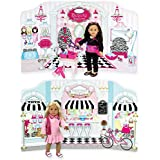 Sophia's 18 Inch Doll Play Scene Backdrop by, serves as a Doll House for American Doll Furniture For 18 Inch American Girl Dolls and More! Reversible Ice Cream Parlor & Beauty Parlor Playscene