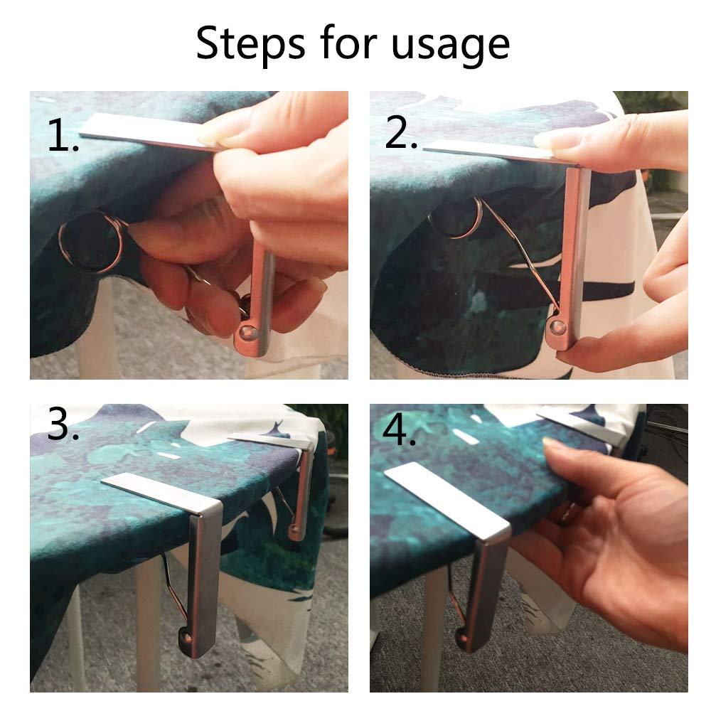 KINDPMA 4 PCS Fermatovaglia a Molla Acciaio Fermatovaglia Tavolo Campeggio Tovaglia Clip Fermatovaglia Regolabile per Mantenere Tavolo Vaglia Picnic Campeggio Terrazzo Giardino Argento