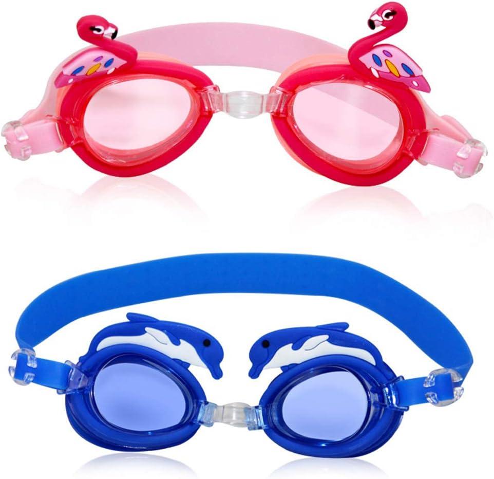 BESLIME Gafas de natación para niños,Gafas de natación de Dibujos animadosGafas de natación Flamingo, 3-8yrs 100% Protección contra Rayos UV Gafas para Chicos y Chicas, 2pcs