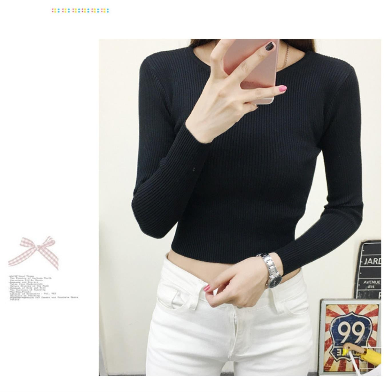 Spring Autumn Tops Women O-neck Long Sleeve Clothing Crop Tops Feminine White black Knitted Cropped Tops