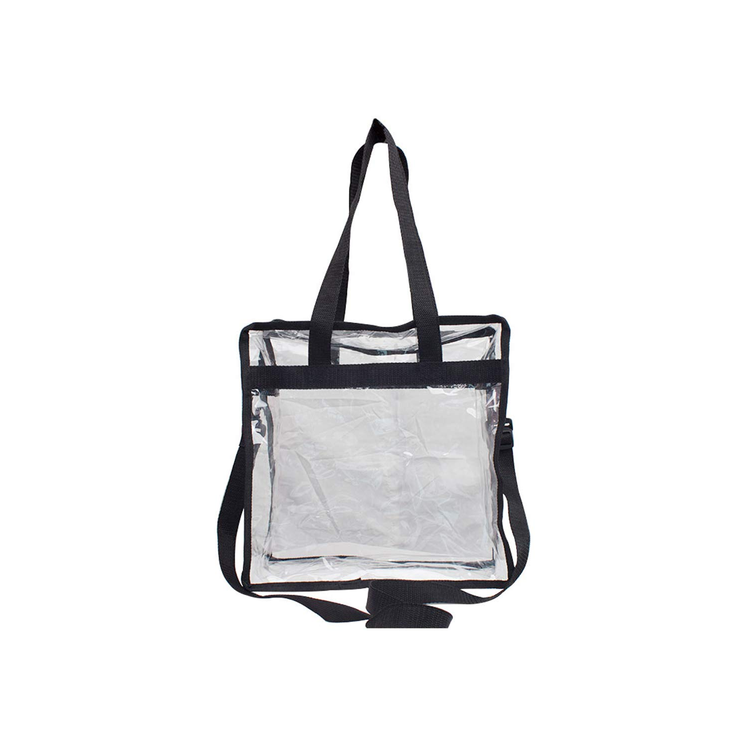 """Premium Clear Stadium Approved Bag - Clear Tote Bag with Cross Body Messenger Adjustable Shoulder Strap-12"""" X 12"""" X 6"""" by Zuess (Image #2)"""