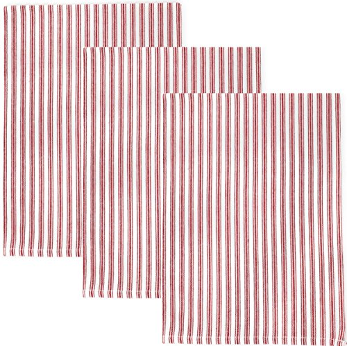 Dunroven House Ticking Stripe 100% Cotton Kitchen Towels, Set of 3 (Red) (Striped Red Towel)
