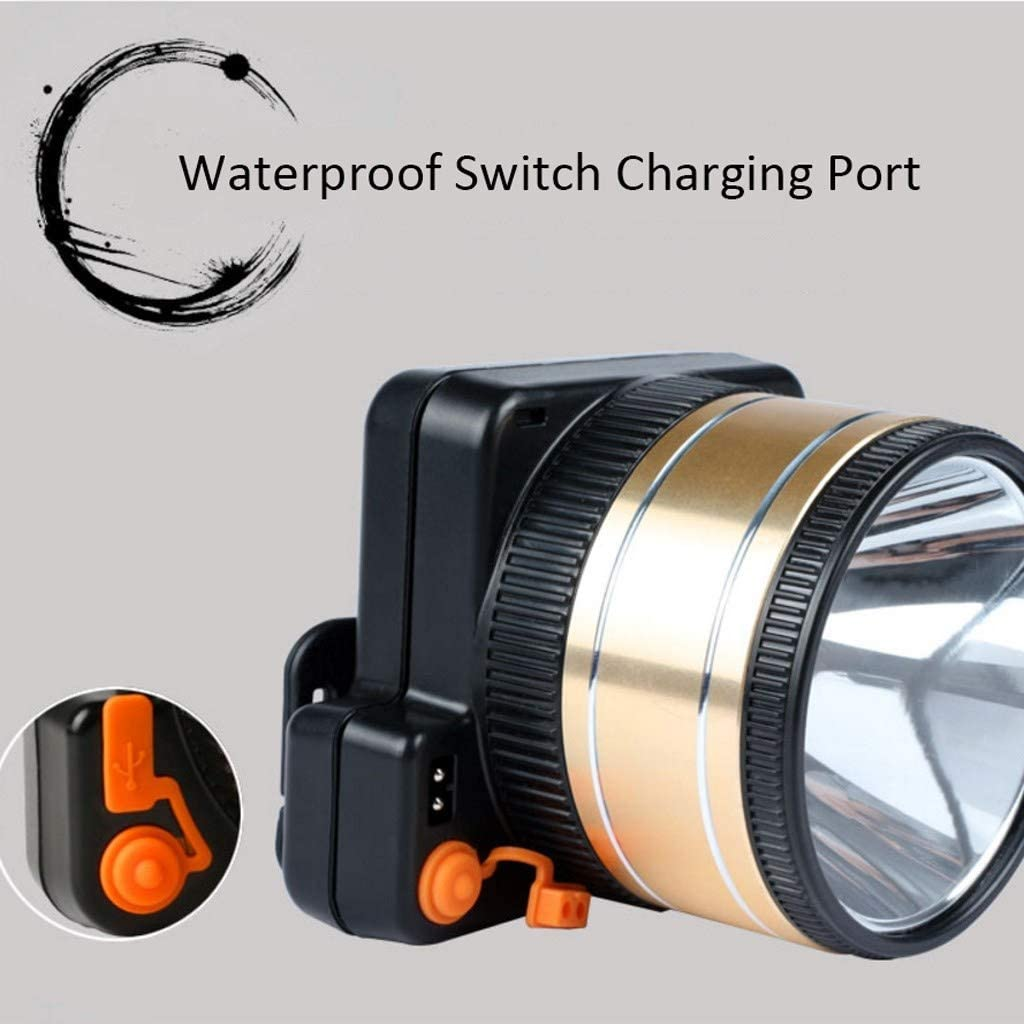 HYDKU Headlights High-power Waterproof Led Headlights Charging Glare Long-range Super Bright Head-mounted Flashlight Lamp (Color : White) White
