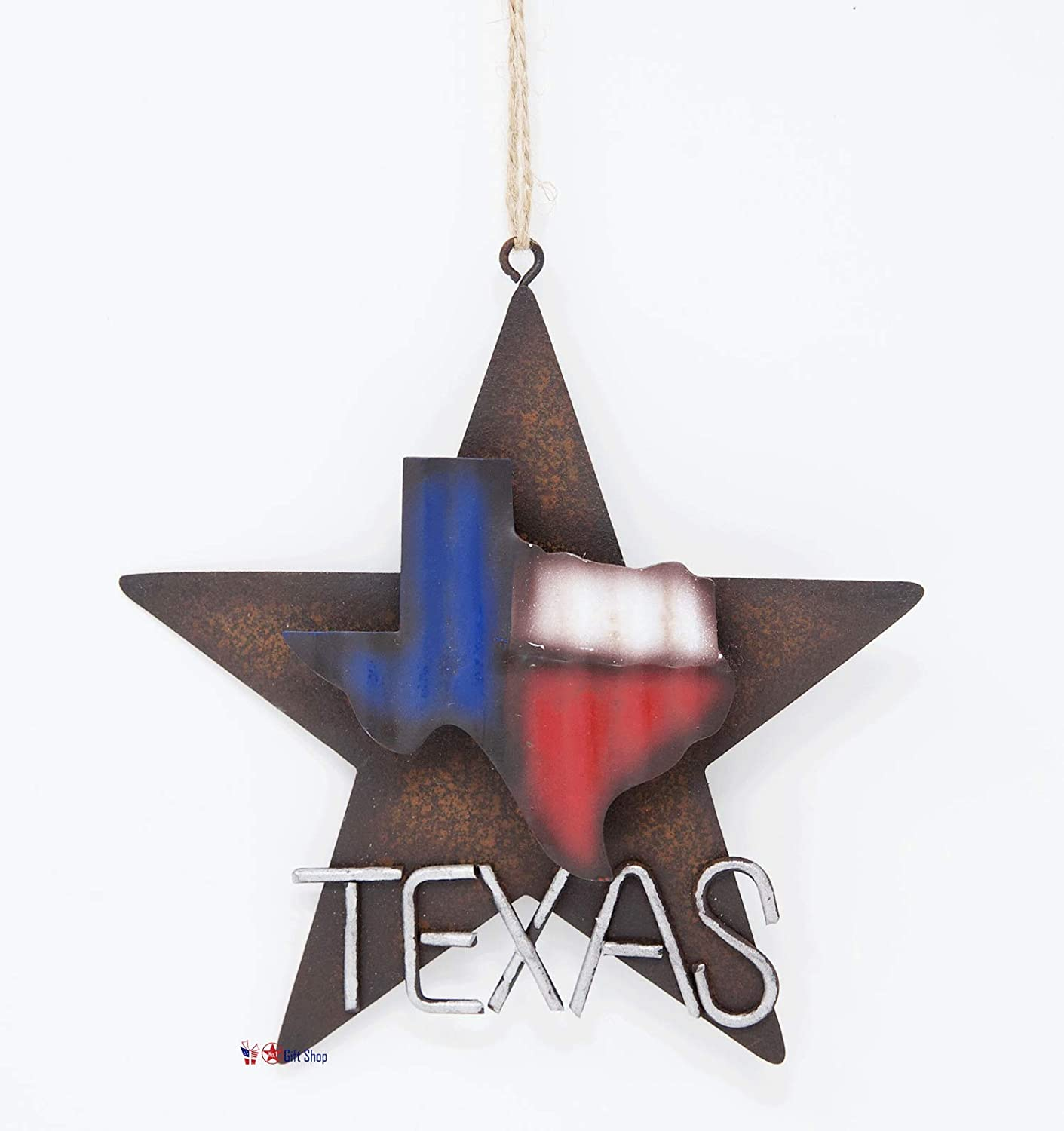 Metal Star with Texas Map Ornament Rustic Style Gift Idea Western Lone Star 3-D Texas Map Christmas Metal/Tin - Tree or Wall Hanging