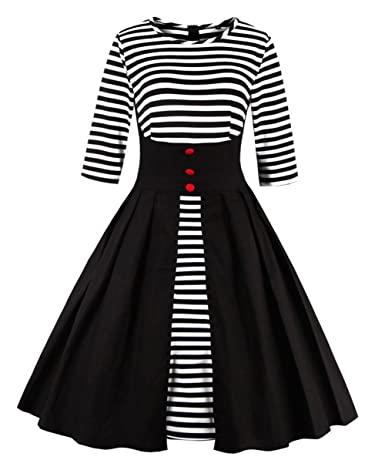 Pin Up Girl Costumes | Pin Up Costumes Wellwits Womens Stripes Vintage Retro 1950s Style Swing Cocktail Dress $24.98 AT vintagedancer.com