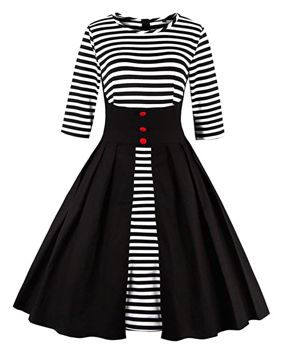Vintage Retro Halloween Themed Clothing Wellwits Womens Stripes Vintage Retro 1950s Style Swing Cocktail Dress $25.98 AT vintagedancer.com