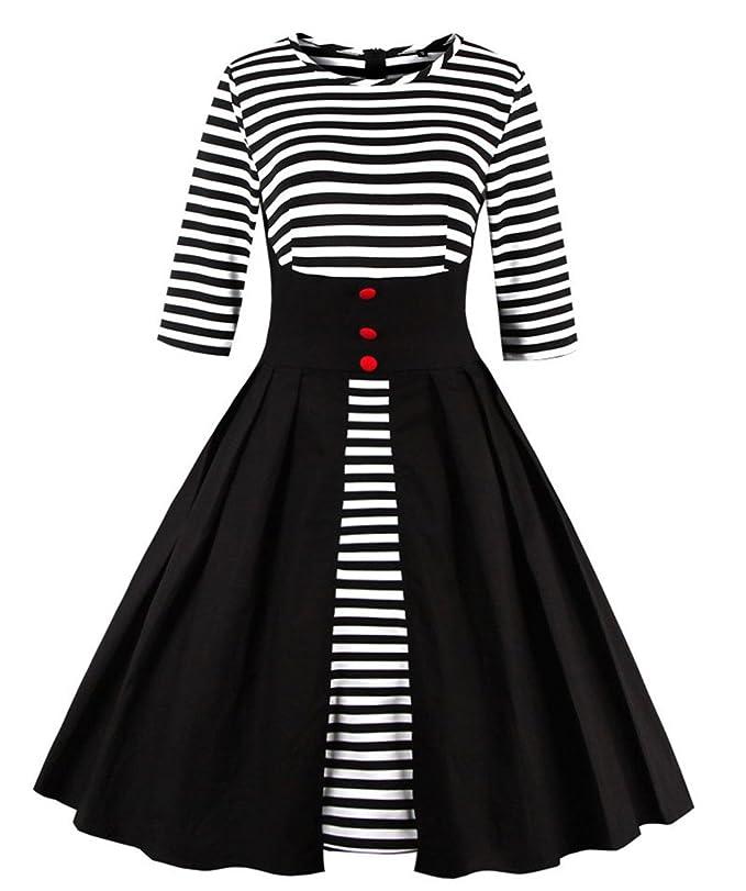 Wellwits Women's Stripes Pin Up Vintage 1950s Swing Cocktail Dress Black 5XL