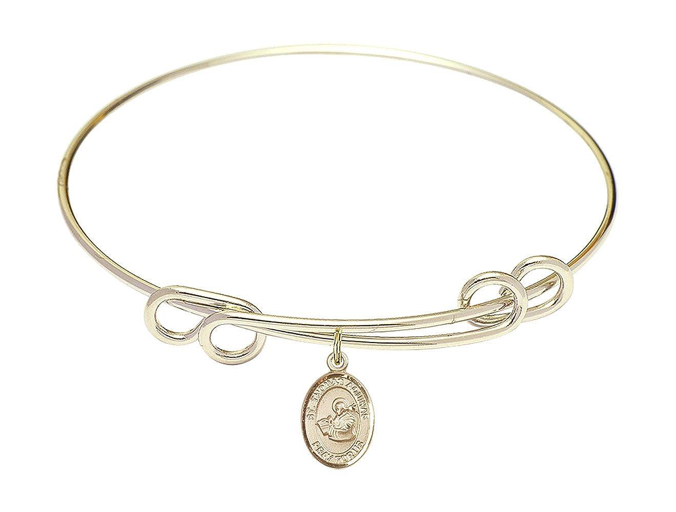 DiamondJewelryNY Double Loop Bangle Bracelet with a St Thomas Aquinas Charm.