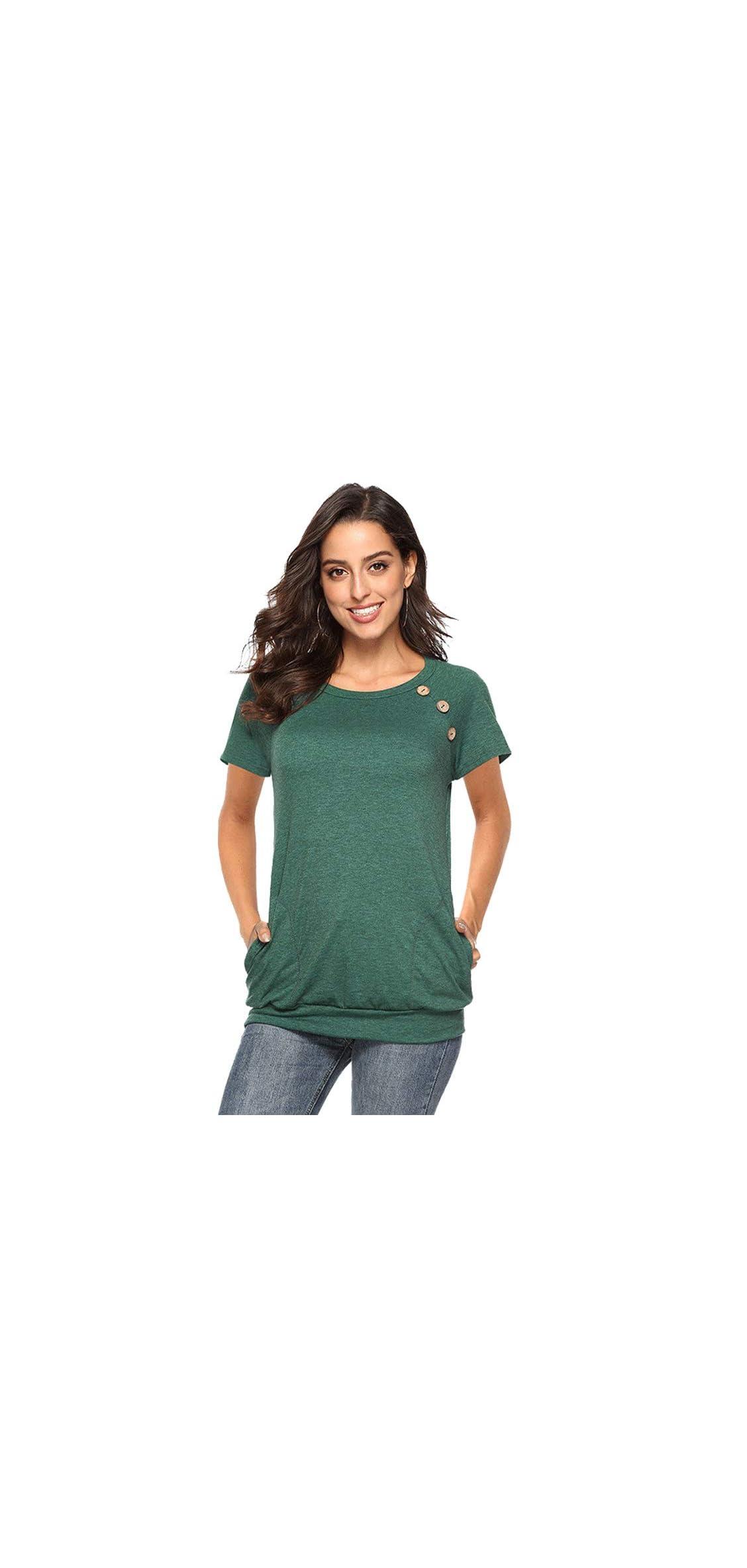 Women Crew Neck Plain T-shirt Short Sleeve Cotton Loose