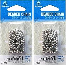 Westinghouse Lighting Corp 3-Feet Beaded Chain, Nickel - Pack 2