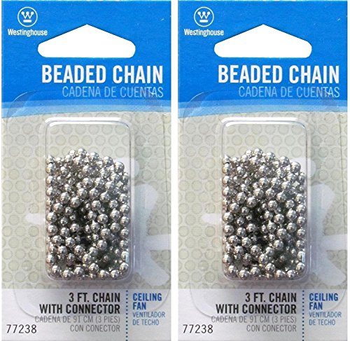 Brushed Nickel 3' Pull - Westinghouse Lighting Corp 3-Feet Beaded Chain, Nickel - Pack 2