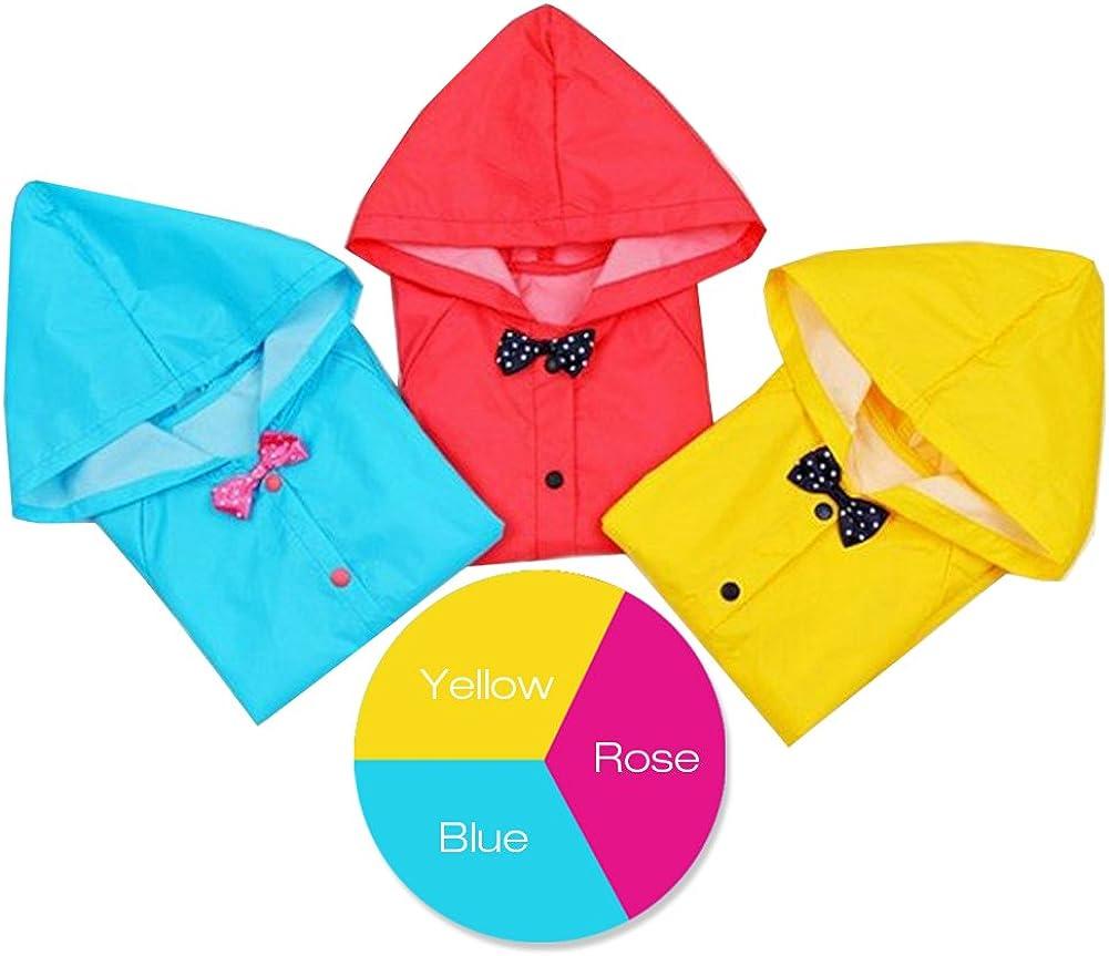 Uniuooi Princess Girls Raincoat Age 2-10 Years Old Size: 2.8-4.3 feet Bow Kids Hooded Rain Coat Jacket Waterproof Children Outwear Poncho Lightweight /& Easy Carrying