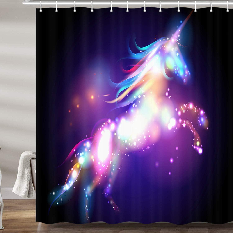 Unicorn Shower Curtain Magical Fantasy Forest Print for Bathroom