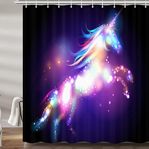 Amazon Com Jawo Colorful Unicorn Shower Curtain For Bathroom Fantasy Animal Bright Spots On Black Background Polyester Fabric Bath Curtains With Hooks 69x70 Inches Home Kitchen