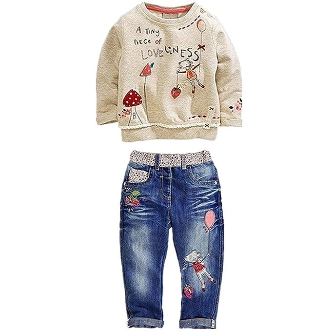 339418340 VERYCO Kids Girls 2 Pieces Outfit Cartoon Embroidery Hoodie Sweatshirt Top  + Denim Jeans Pants Trousers Set
