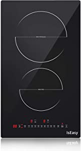 Dual Induction Cooker 12'' Induction Cooktop 2 Burner 240V IsEasy Electric Cooktop built-in Induction Stovetop,Dual Heating Cooktop Glass with Booster Burner,Touch Sensor Control,Black