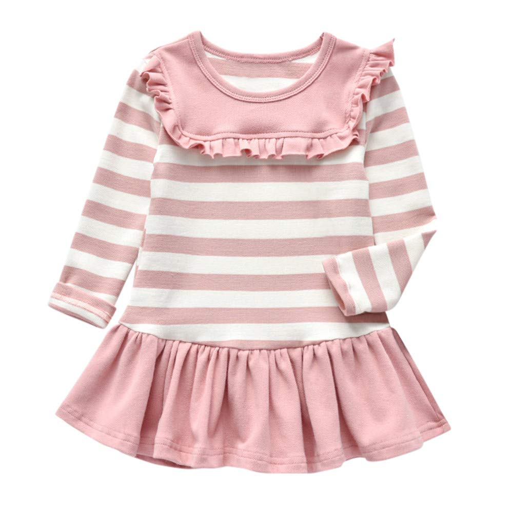 Toddler Toddler Kid Baby Girl Solid Stripe Party Princess Dress Long Sleeve Tops Age:12 Months-5Years Old