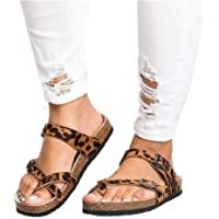 3d0d1bdba ADOSOUL Womens Thong Flat Sandals Gladiator Buckle Strappy Cork Sole Summer  Slides