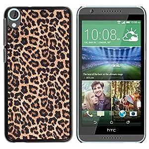 Modelo de la piel del leopardo de Brown de oro- Metal de aluminio y de plástico duro Caja del teléfono - Negro - HTC Desire 820