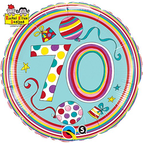 Qualatex 18 Inch Polka Dots & Stripes Age 70 Circular Foil Birthday Balloon (One Size) (70s Characters Fancy Dress)