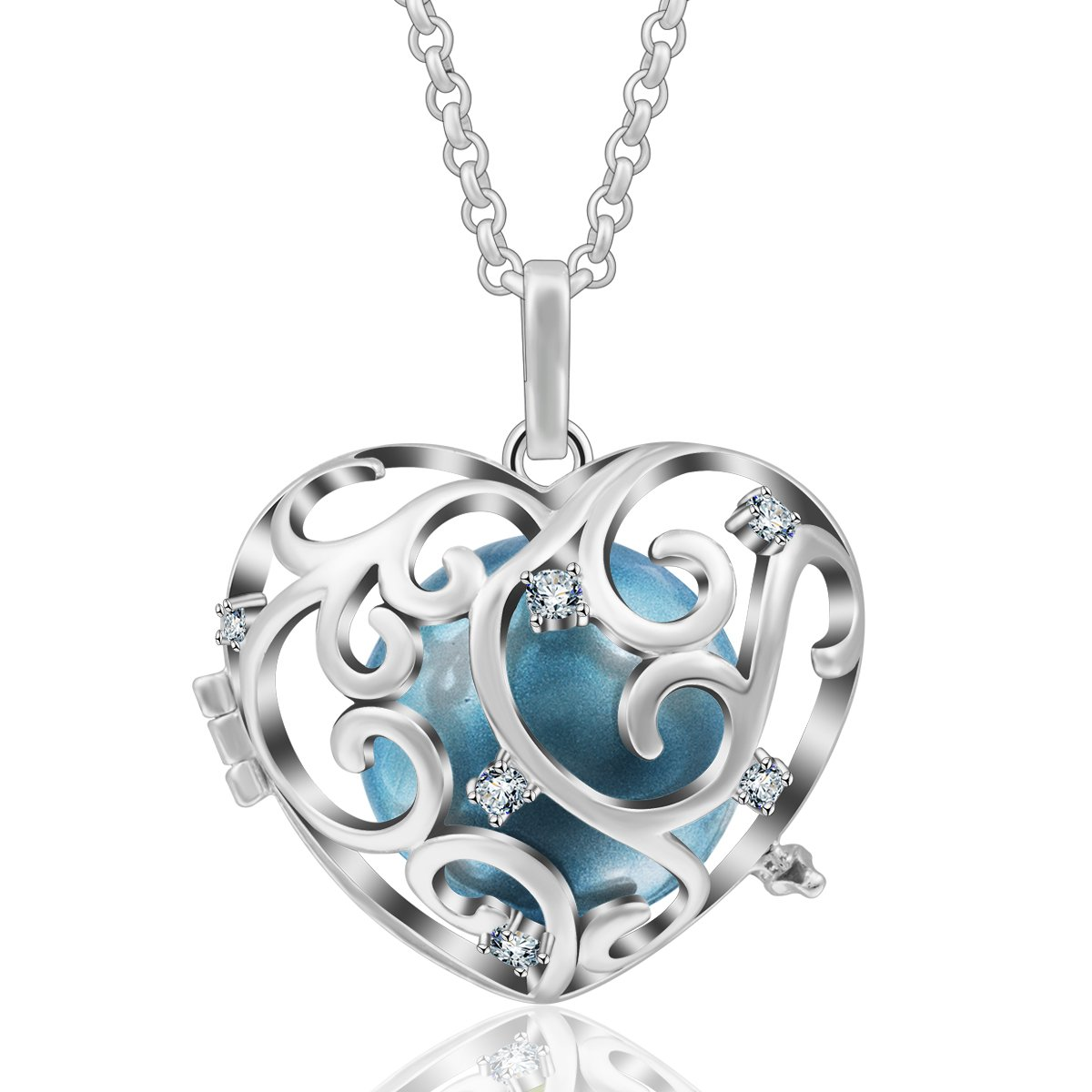 EUDORA Harmony Ball Necklace flower-de-luce Music Chime Gift to Mom Wishing Ball, 30'' Chain #25Blue
