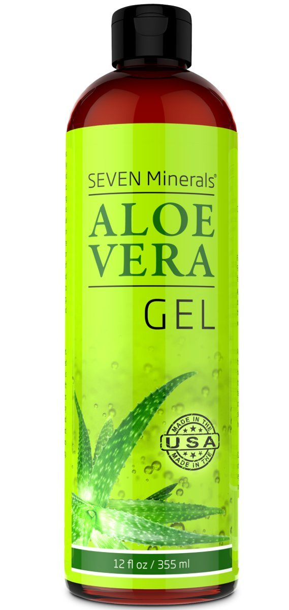 Organic Aloe Vera Gel with 100% Pure Aloe From Freshly Cut Aloe Plant, Not Powder - No Xanthan, So It Absorbs Rapidly With No Sticky Residue - Big 12 oz by Seven Minerals