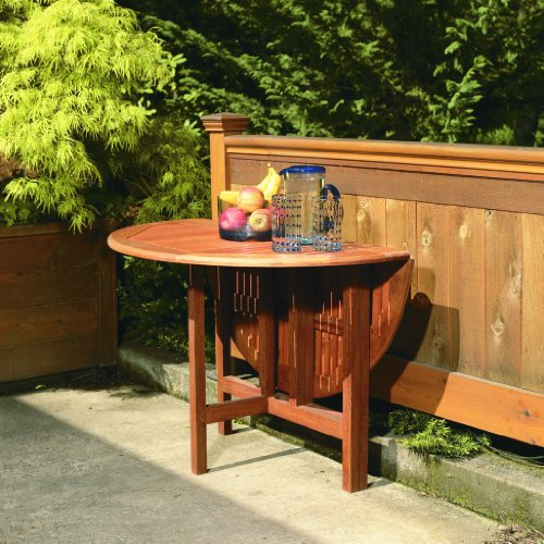 Arboria 880.3285.7 Round Patio Table 42 Inch Diameter Drop Leaf with Outdoor Seating Space for 4