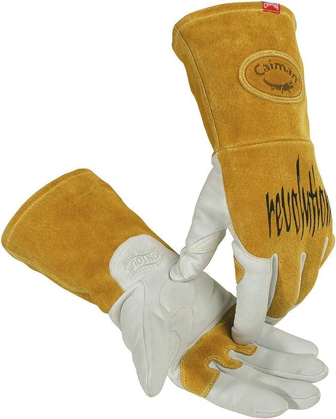 Caiman White Goatskin Welding-Tig//Mig Large Long Cuff