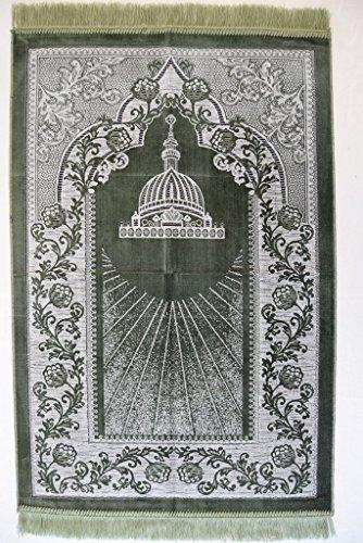 Interway Trading Prayer Rug Mat Carpet Permadani Permaidani Ramadan Eid Turkish Seccade Muslim Sajadah Namaz Janamaz Velvet (Green) by Interway Trading