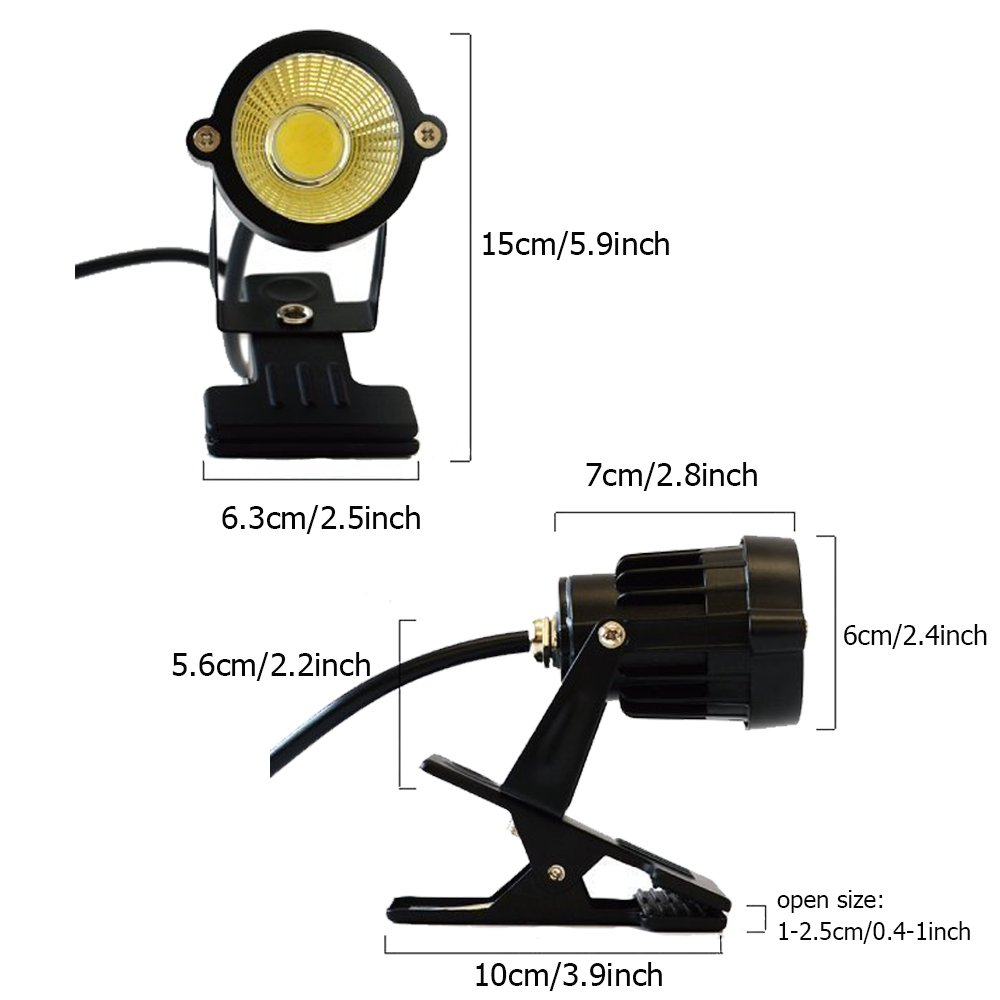 Onerbuy 1 pcs LED Clip on Light Outdoor Water Resistant Signboard Blackboard Lighting Adjustable Desk Stand Arm Lamp with Power Plug by Onerbuy (Image #4)