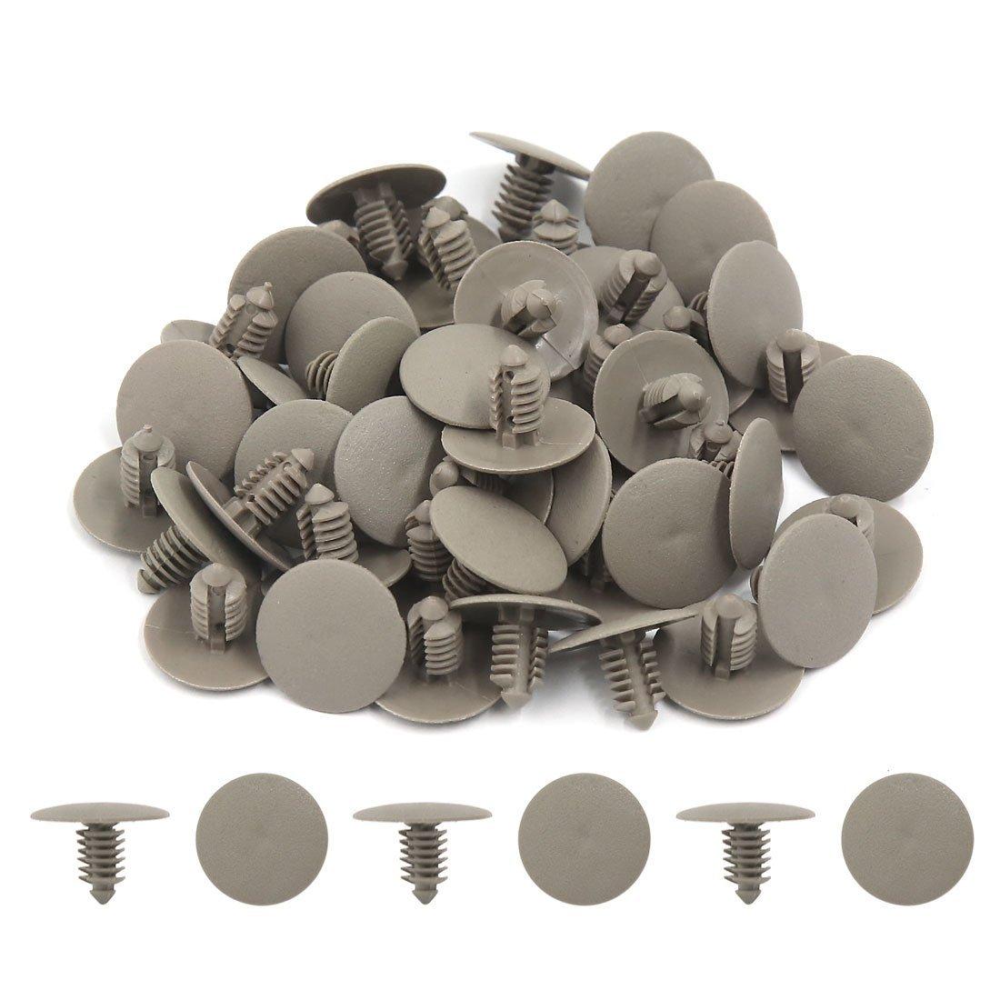 Amazon.com: eDealMax 50pcs Universal gris plásticos Sujetadores tipo de inserción de Clip del remache 7 mm de diámetro del agujero Para el coche: Automotive