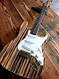 EXOTIC TONE WOOD ZEBRANO STRIPED TOP STRAT STYLE 6 STRING ELECTRIC GUITAR