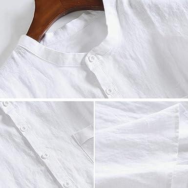 Overdose Camisas Hombre Informal Manga Corta Vintage Shirt Hombre Lino Cuello Redondo Ibicenca Popular Tops: Amazon.es: Ropa y accesorios