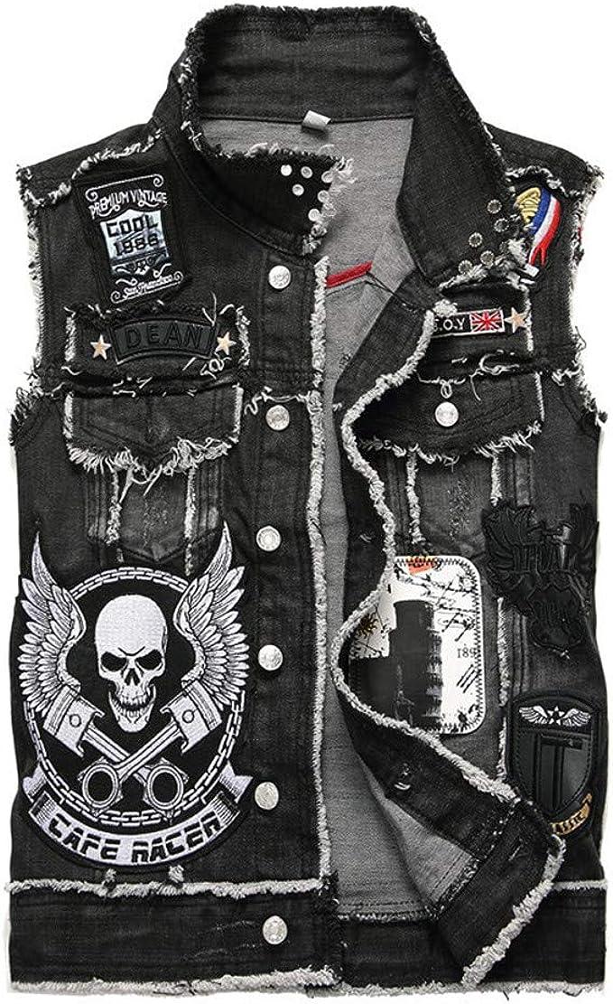 Mens Rivets Singer Dress Rocker Punk Tops Zipper Black Waistcoat Vests New