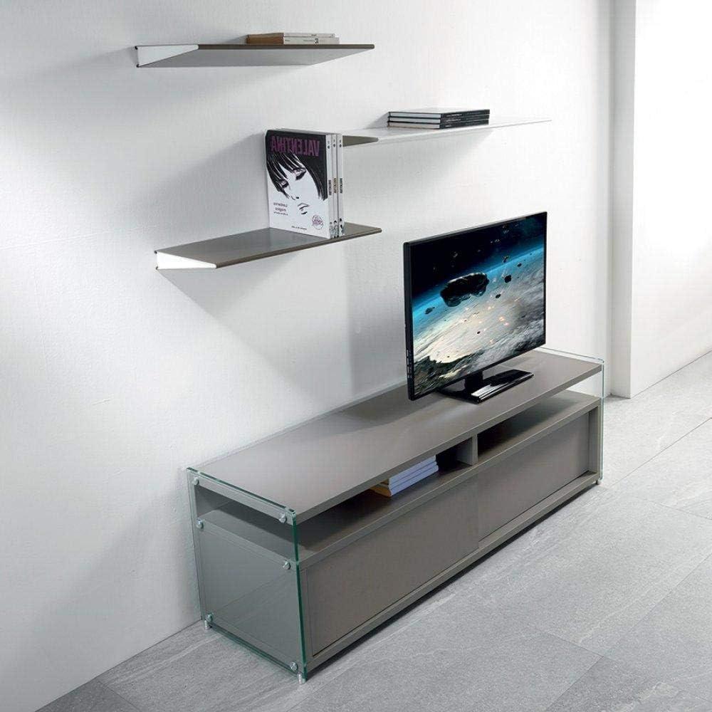 PEZZANI - Mueble para TV TALAC con 2 Puertas correderas, Color Gris Mate: Amazon.es: Hogar