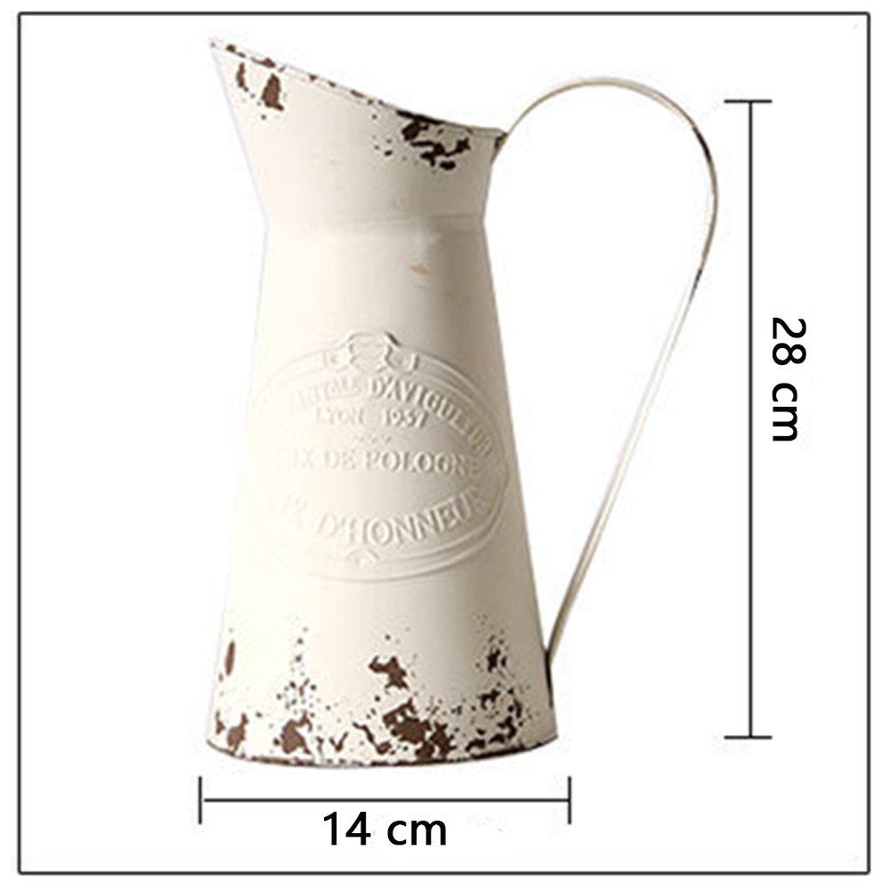 Vancore Grand vase pichet en m/étal style nostalgique et shabby chic pour d/écoration int/érieure TM