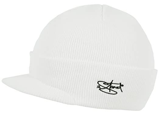79dbb967070a 2Stoned Mütze mit Schirm Visor Beanie Cap Deluxe, One-Size Erwachsene  Unisex, Weiß