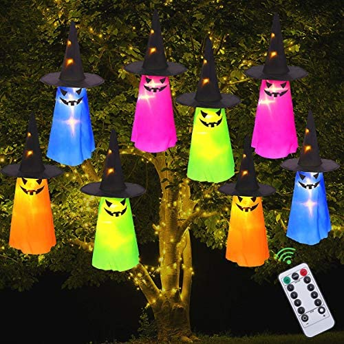 MAOYUE Halloween Decorations Outdoor 8Pcs Hanging Lighted Glowing Ghost Hat Decorations 36ft Halloween Lights String Battery Operated Halloween Decor with 8 Lighting Modes for Outdoor, Yard, Tree