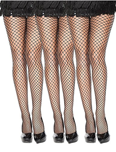 Ultra Hot Quality Seamless Diamond Net Pantyhose Black 3 Pack (White Fishnets)