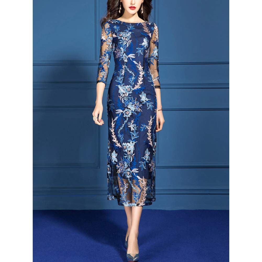 L BINGQZ Cocktail Dresses Spring female temperament slim slimming hip skirt seven-point sleeve bluee embroidered lace dress female spring and autumn